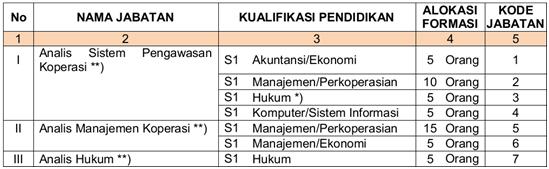 Formasi CPNS kementrian Koperasi dan UKM 2013