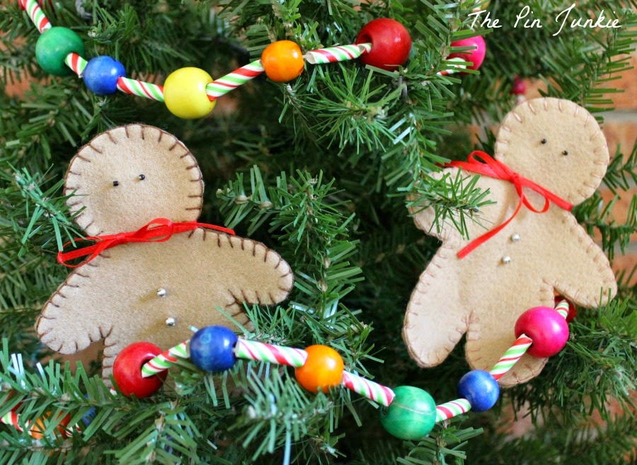 felt gingerbread christmas-ornaments