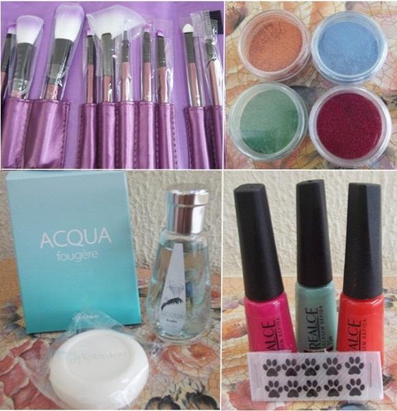 produtos glittershop, o boticario e pinceis