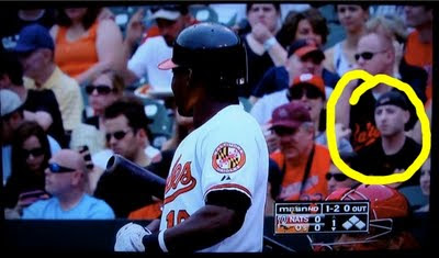 Benjamin Rubenstein on-camera at Baltimore Orioles game