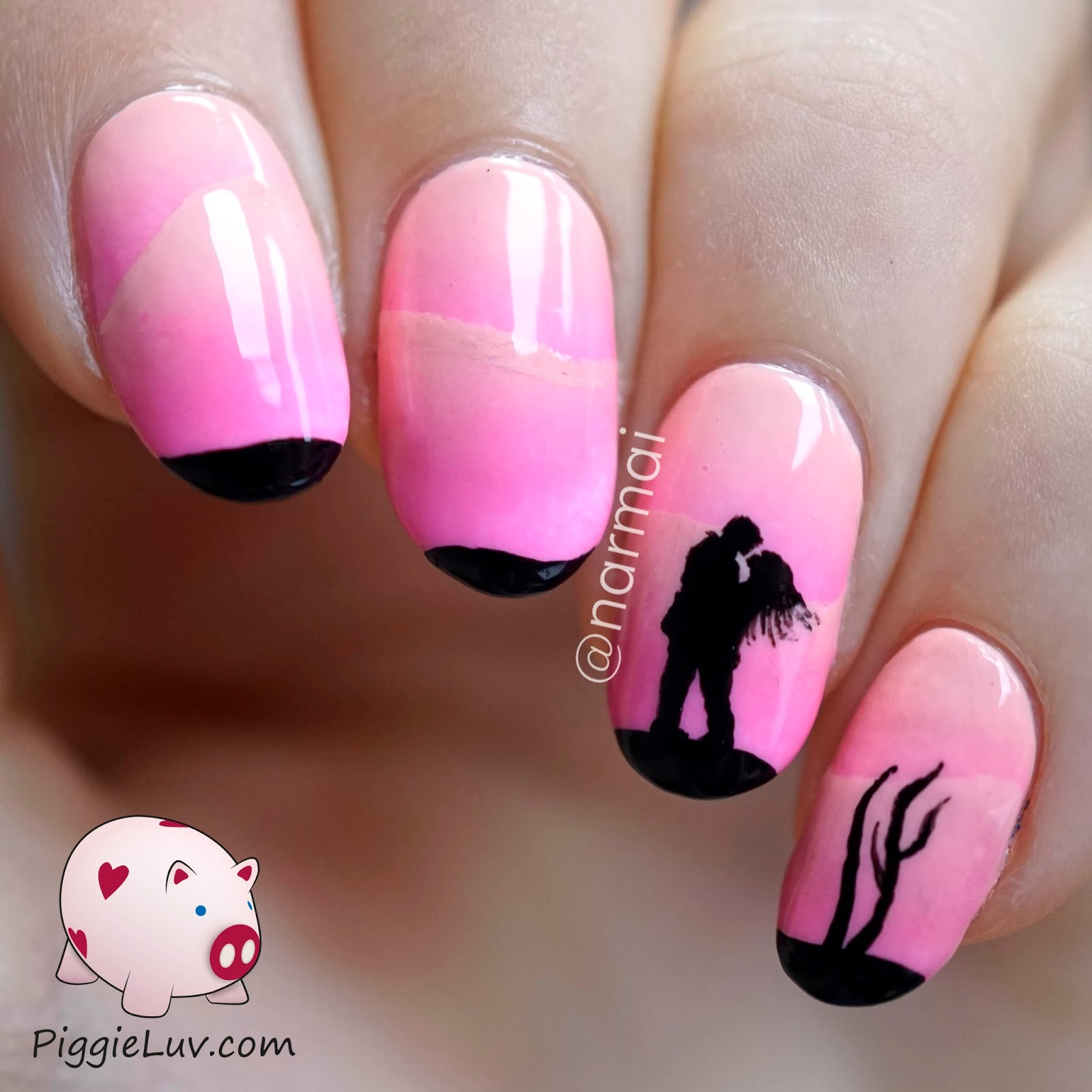 Pics Of Nail Art: PiggieLuv: Pink Scaled Gradient With Freehand Silhouette