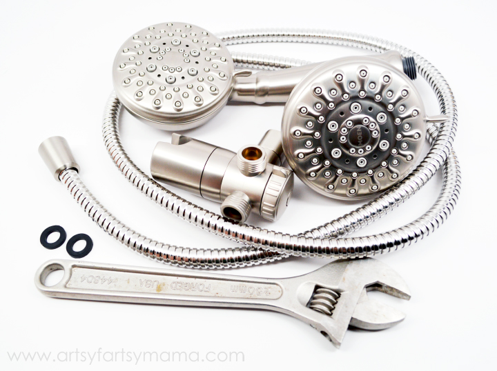 How to Replace a Shower Head at artsyfartsymama.com #DIY #bathroom #shower #Moen