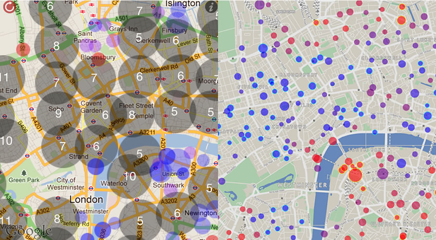 Web Map Design Point Clustering Usability Example - London altitude map