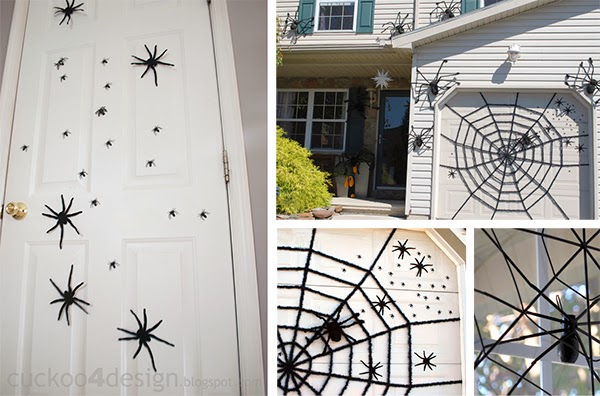 fake Halloween spider home invasion