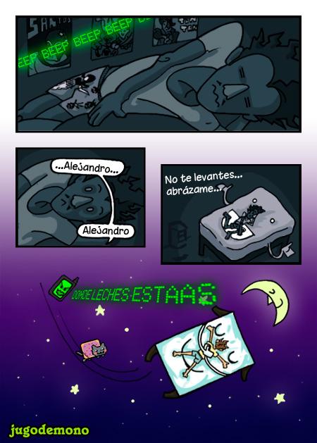 """tira cómica sobre quedarse dormido. [1] suena el movil en una habitación oscura pero sigue durmiendo [2] Una voz misteriosa le llama por su nombre [3] es su cama diciendole """"No te levantes... abrázame"""" [4] El personaje se queda flotando en un espacio onírico mientras el móvil intenta devolverlo a la realidad y nyan cat hace un cameo. hecho por jugodemono"""