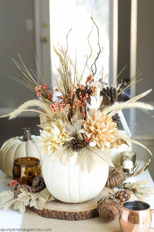 Beautiful fall centerpiece with white pumpkin