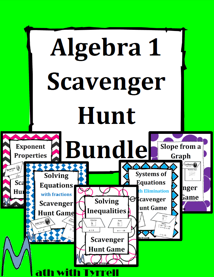 https://www.teacherspayteachers.com/Product/Algebra-1-Scavenger-Hunt-Bundle-1696205