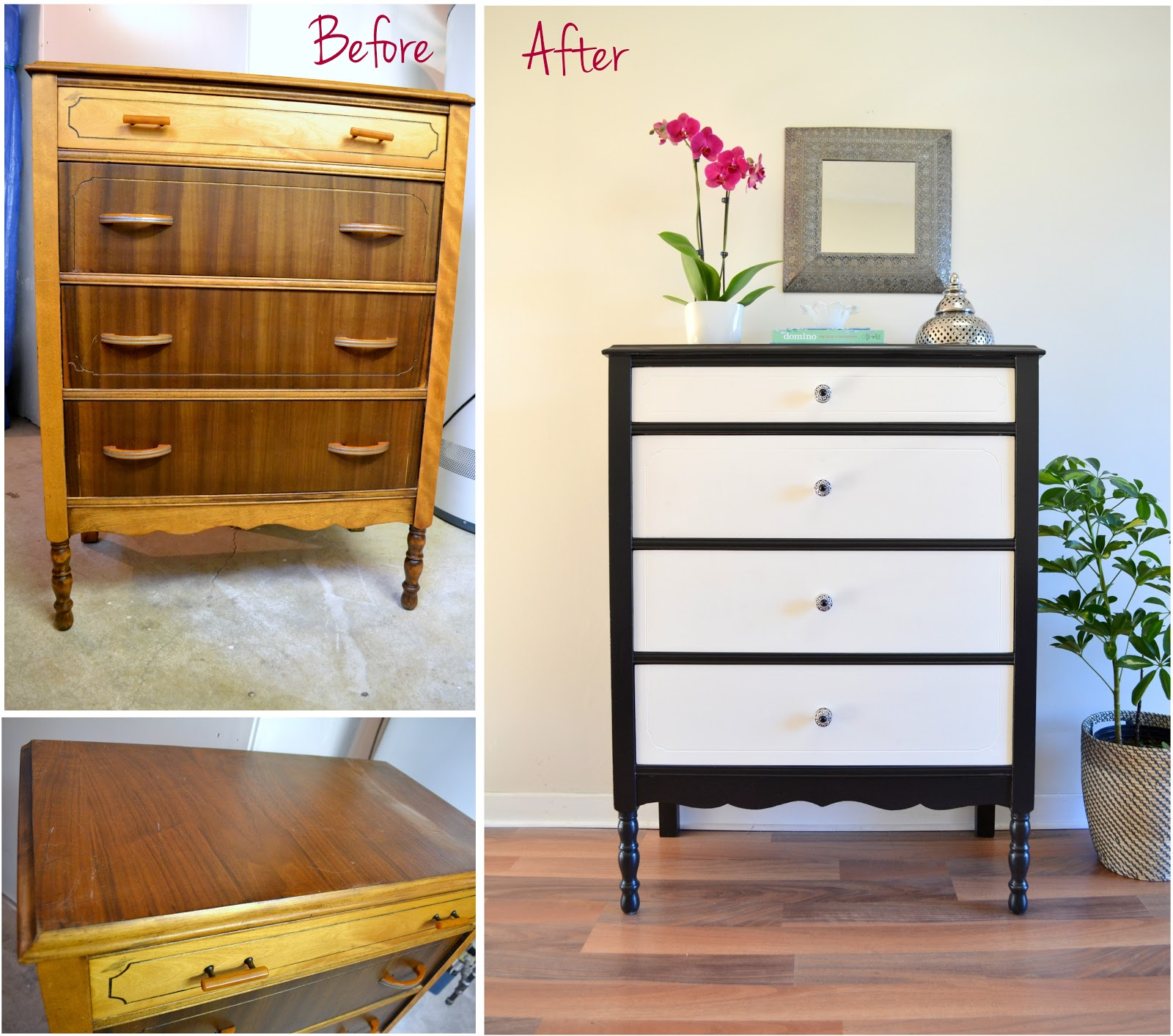 Honey sweet home the tuxedo dresser a black white makeover - Before and after old dressers makeover with a little paint ...