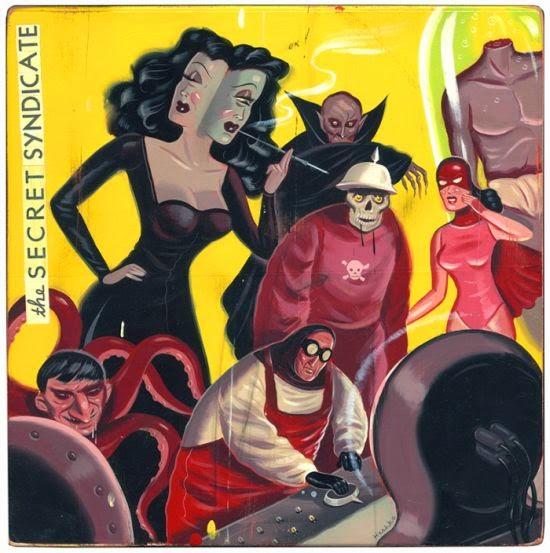 Ryan Heshka ilustrações surreal ficção científica vintage terror pulp