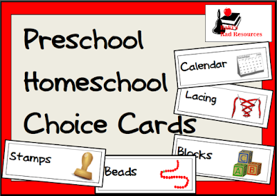Free Preschool choice cards for your classroom or homeschool situation from Raki's Rad Resources.