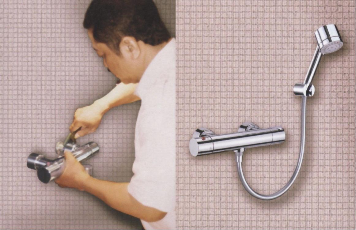 Body shower set (type Toto TX 450 SEM) sudah terpasang dengan baik