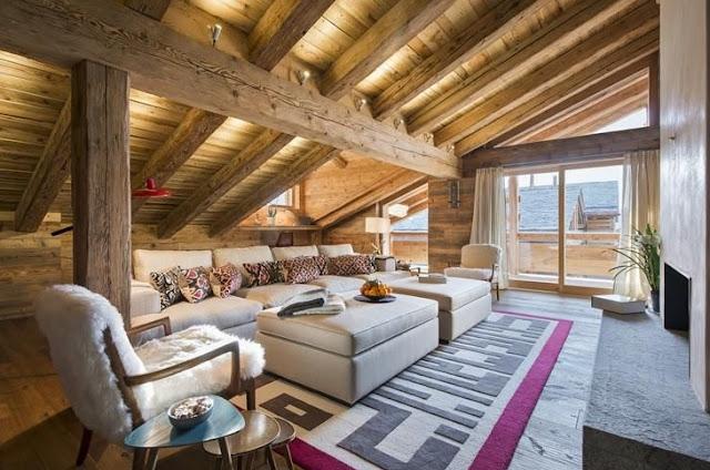 Dúplex de montaña elegante y chicubicado en los Alpes Suizos chic and deco
