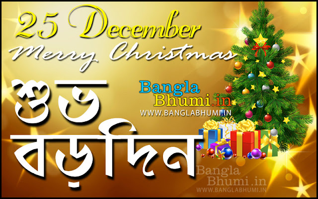Bengali Subho Borodin Greeting Wallpaper - Christmas Bangla Wish Wallpaper Free Download