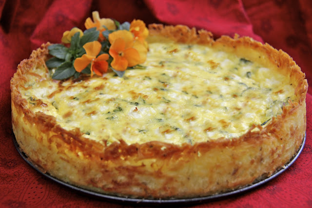 Goat Cheese Fontina Arugula Quiche W Crispy Hash Brown