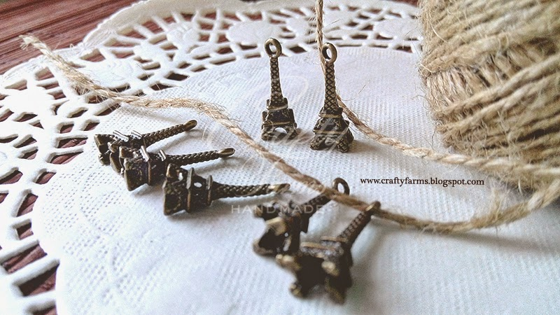 Vintage Bronze Eiffel Tower Romantic Charm with Burlap Jute String, Wedding Embellishment Malaysia