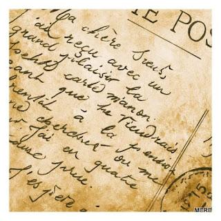 postal con letra manuscrita