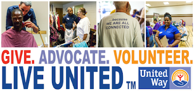 Montage of images from United Way Project Connect day.  Text: Give. Advocate. Volunteer.  Live United.  United Way.