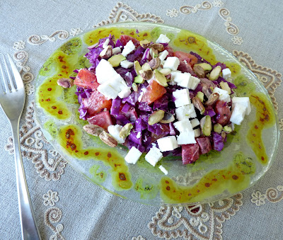 Orange and Red Cabbage Salad with Feta Cheese and Nuts