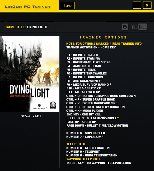 Dying light trainer 1.3.0
