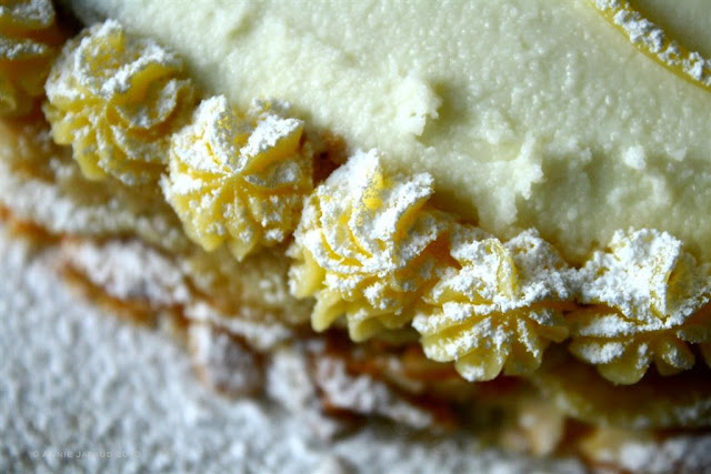 close up of lemon pipings on the side of a cake