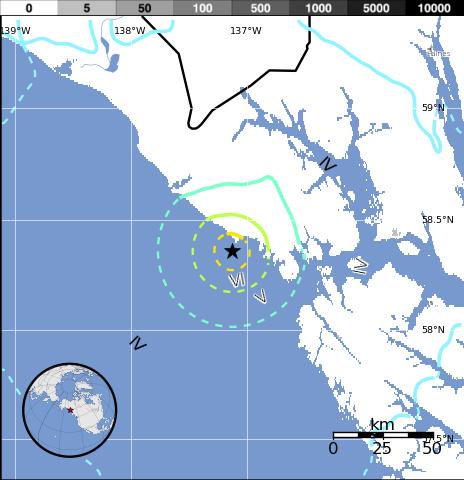 Epicentro sismo 5,9 grados en Alaska, 25 de Julio 2014
