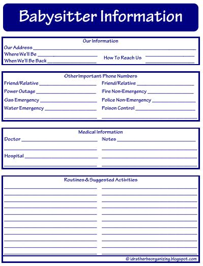 Babysitting Checklist Template | newhairstylesformen2014.com