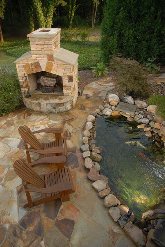 Natural backyard design ideas with pond for Pond design ideas