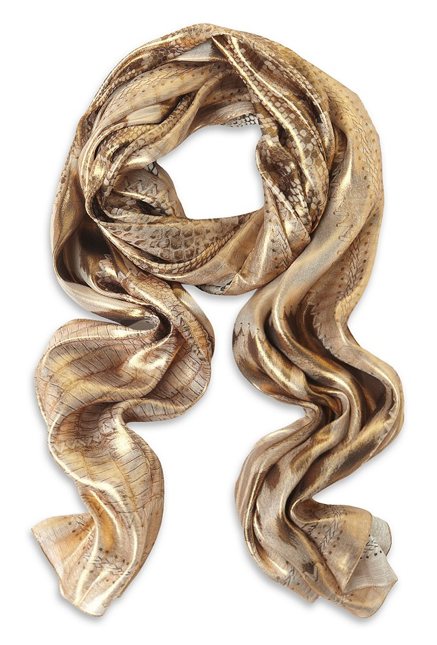wrapping themselves in this metallic Roberto Cavalli silk scarf