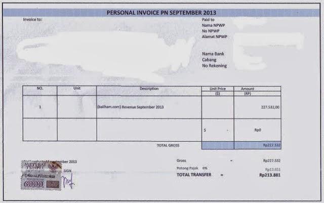 Contoh Surat Invoice
