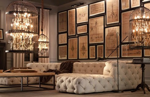 restoration hardware picture frames vintage map would be easy to replicate with book pages and simple black frames you could do whole wall for the price of one piece art now about that sofa personality is preferred restoration hardware new catalog