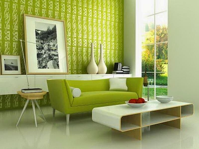 Living Room Makeover With Green Wallpapers