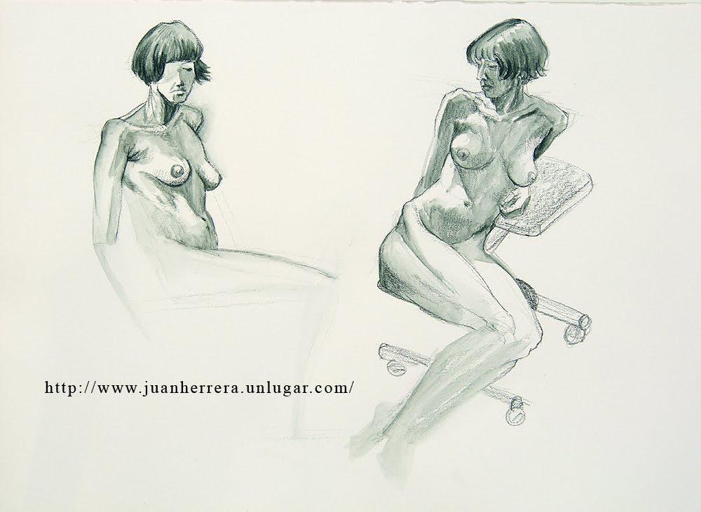 Taller de Arte Juan Herrera: Estudios de torso femenino con modelo vivo