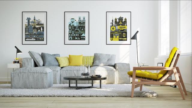 interior dengan aksen warna kuning