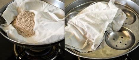 steaming ragi flour