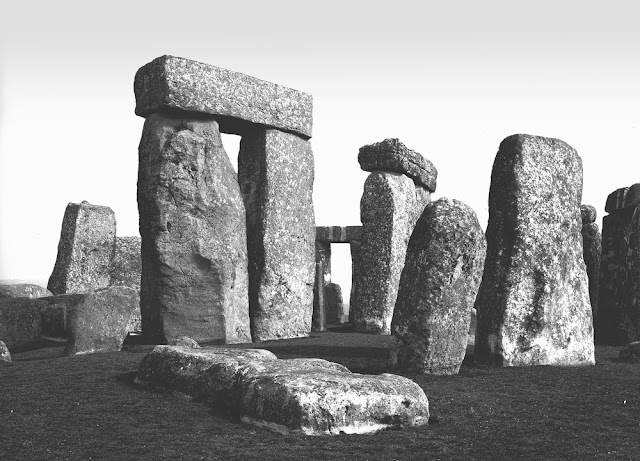 Stonehenge, Amesbury. Looking N. 15 degrees E. Stonehenge. Stones (fallen and erect) of the Outer Circle from without showing the two remaining trilithons.