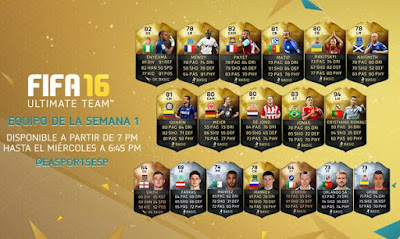Team of the Week 1 FIFA 16 Ultimate Team, Equipo de la Semana 1 FUT 16