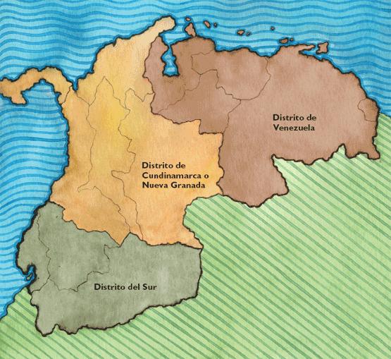Mapa Politico de la Gran Colombia de la Gran Colombia
