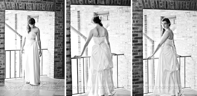 photo of a bride on a balcony