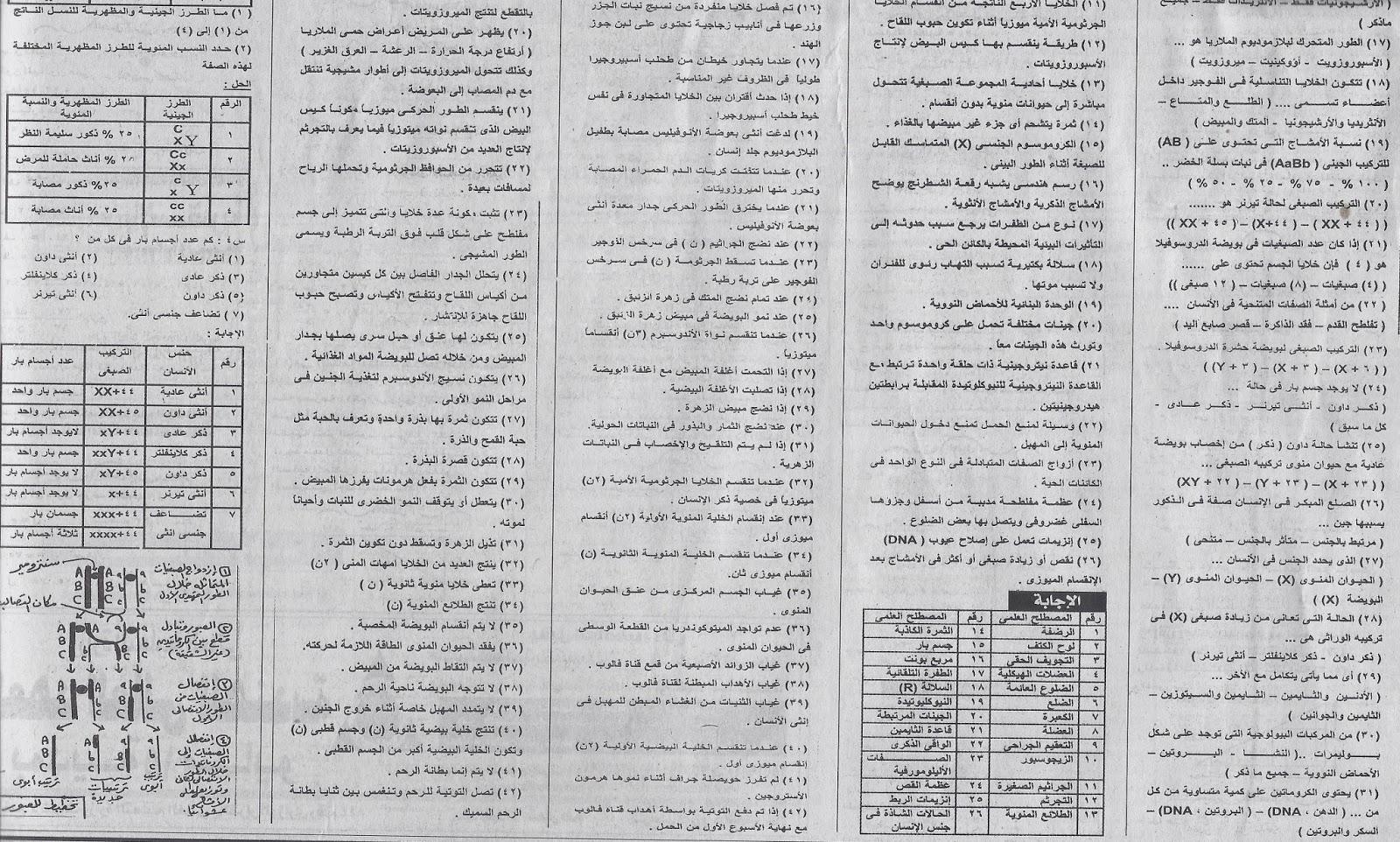 مراجعة ليلة الامتحان الاحياء الثانوية العامة 2014 نظام حديث جريدة الجمهورية التعليمى