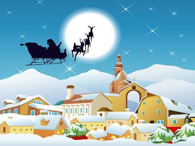 Santa Claus pasa por ciudad cubierta de nieve en Navidad