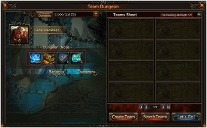 League of Angels Team Dungeons