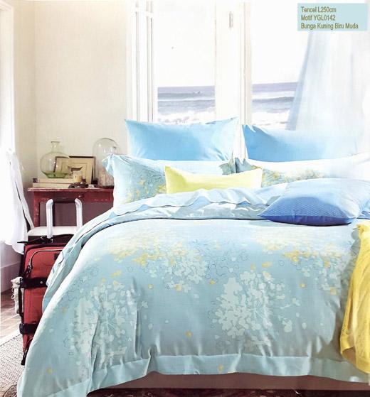 Sprei Tencel Motif Bunga Kuning Biru Muda
