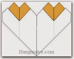 Bước 11: Hoàn thành cách xếp 3 trái tim một lúc bằng giấy theo phong cách origami.