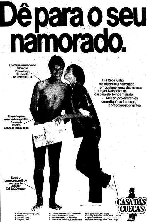 Propaganda da Casa das Cuecas em 1982 com um título de duplo sentido para a ocasião.