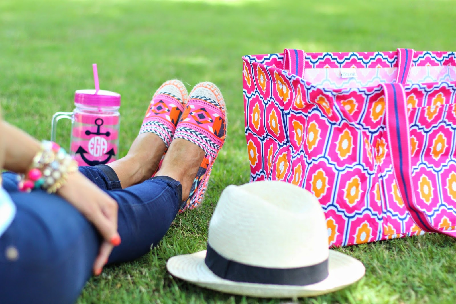 flat espadrilles, h&m flat espadrilles, tory burch flat espadrilles, all for color bin, forever 21 fedora, tumbler cup with anchor and monogram, malibeads bracelets, emily gemma, the sweetest thing