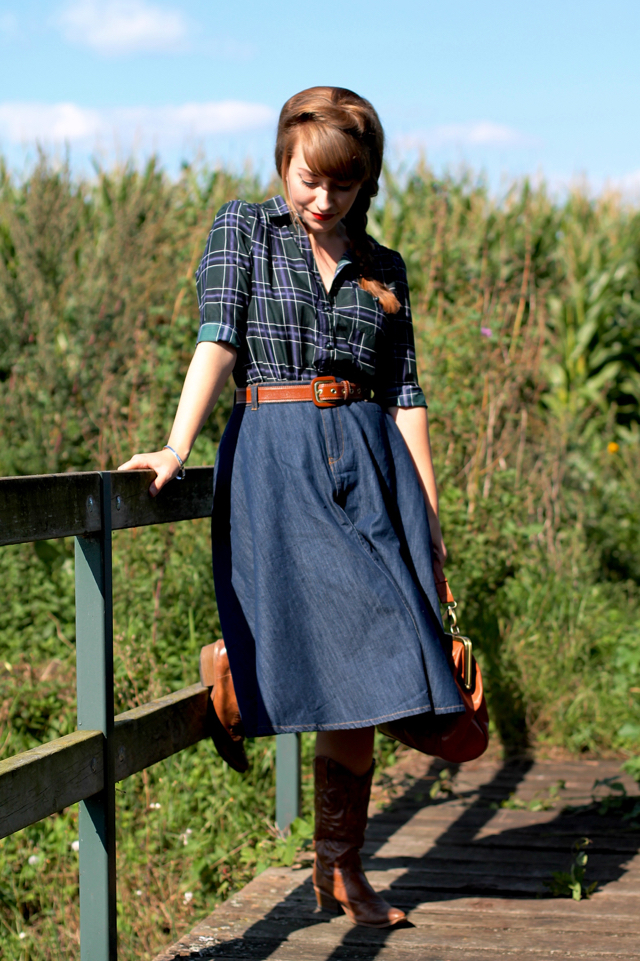 Checked shirt, denim swing skirt and cowboy boots