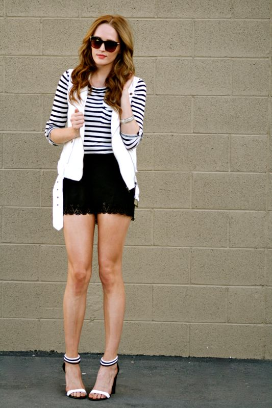 Summer Style- Black and White Trend-Personal style blogger-Fashion-Piperlime shoes-White vest- forever21 shorts