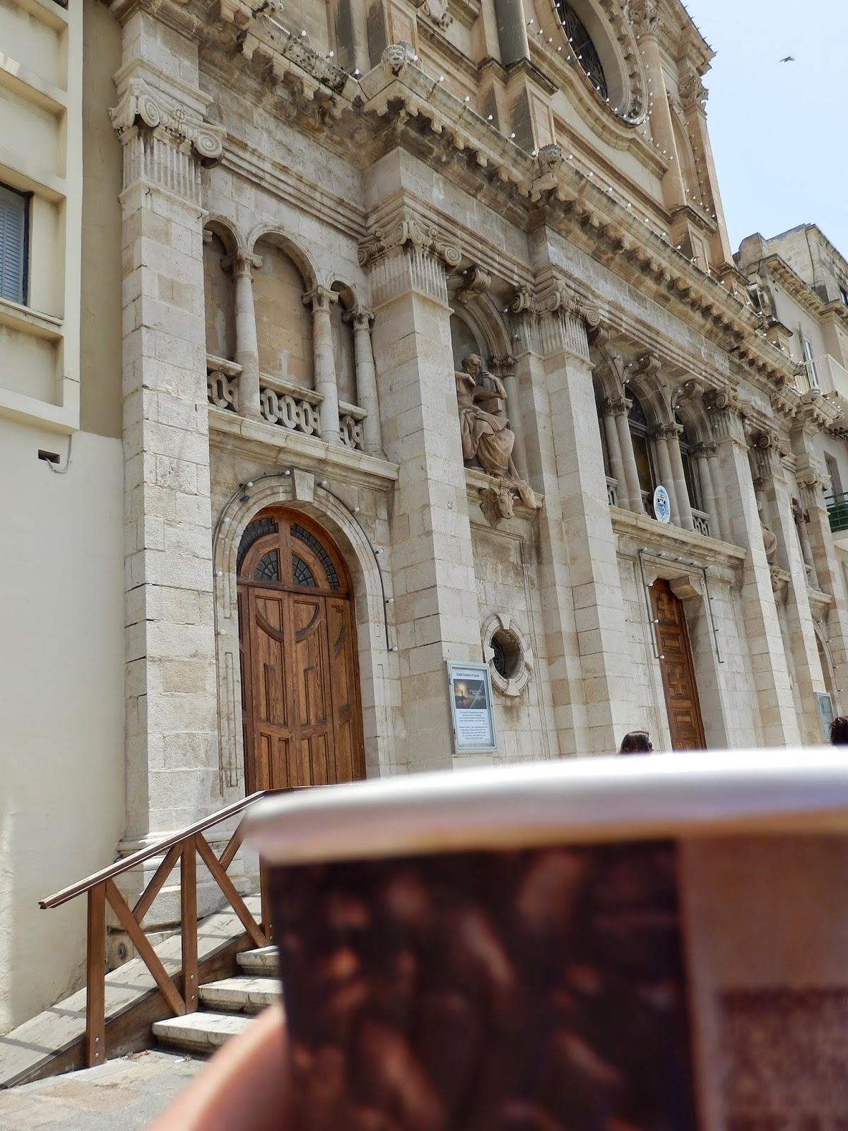 Coffee outside a church