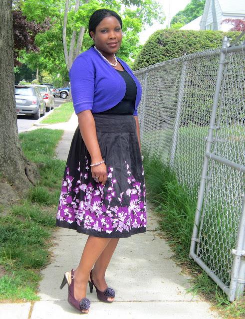 Floral skirt, midi skirt, purple heels