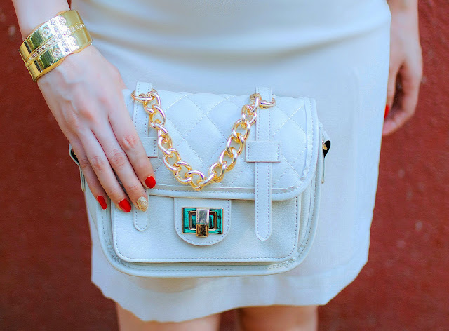 VERO MODA Beige & Gold Chain Bag, Gold Cuff Bracelet